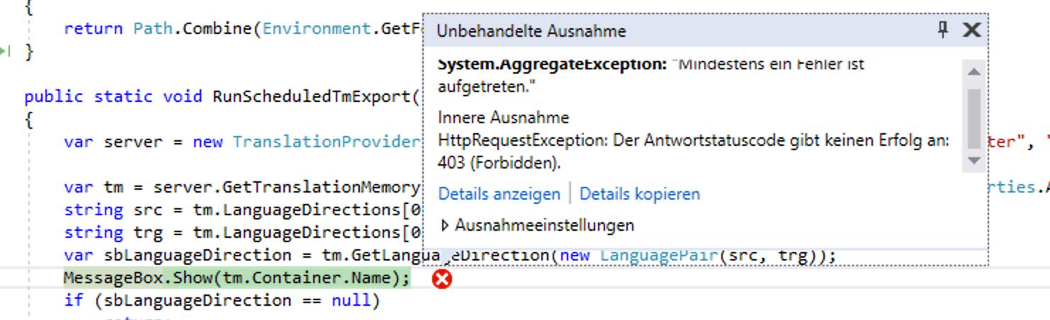 Cannot retrieve TM container name through TM API with