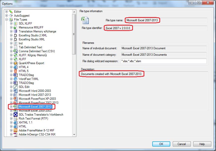 file type identifier trados