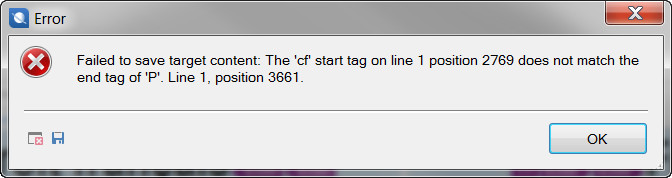 The 'cf' start tag on line 1 position xxx does not match the