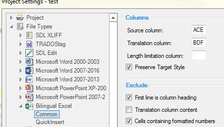 Multiple columns in Bilingual Excel files - SDL Trados