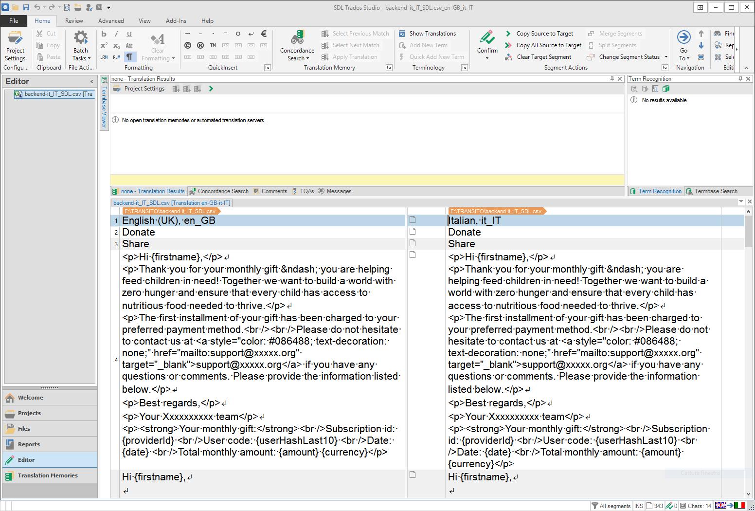 Managing a CSV file - SDL Trados Studio - Translation