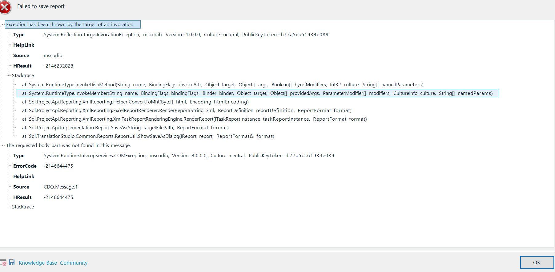 Can't save Analyze Files report to xlsx - SDL Trados Studio