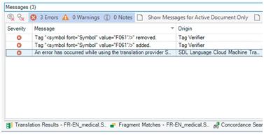 Stubborn error messages after running Verify - SDL Trados Studio