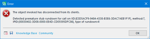 The object invoked has disconnected from its clients.Detected