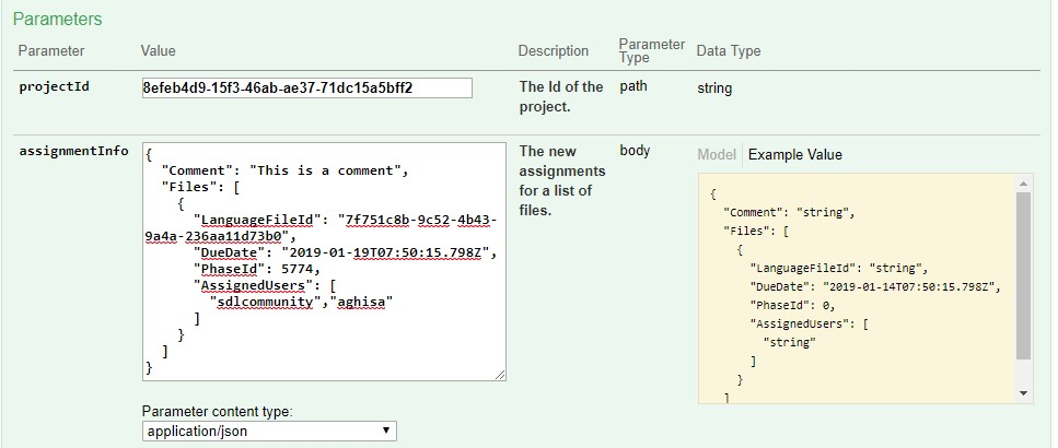 How to assign a file to a user in GS using Swagger UI