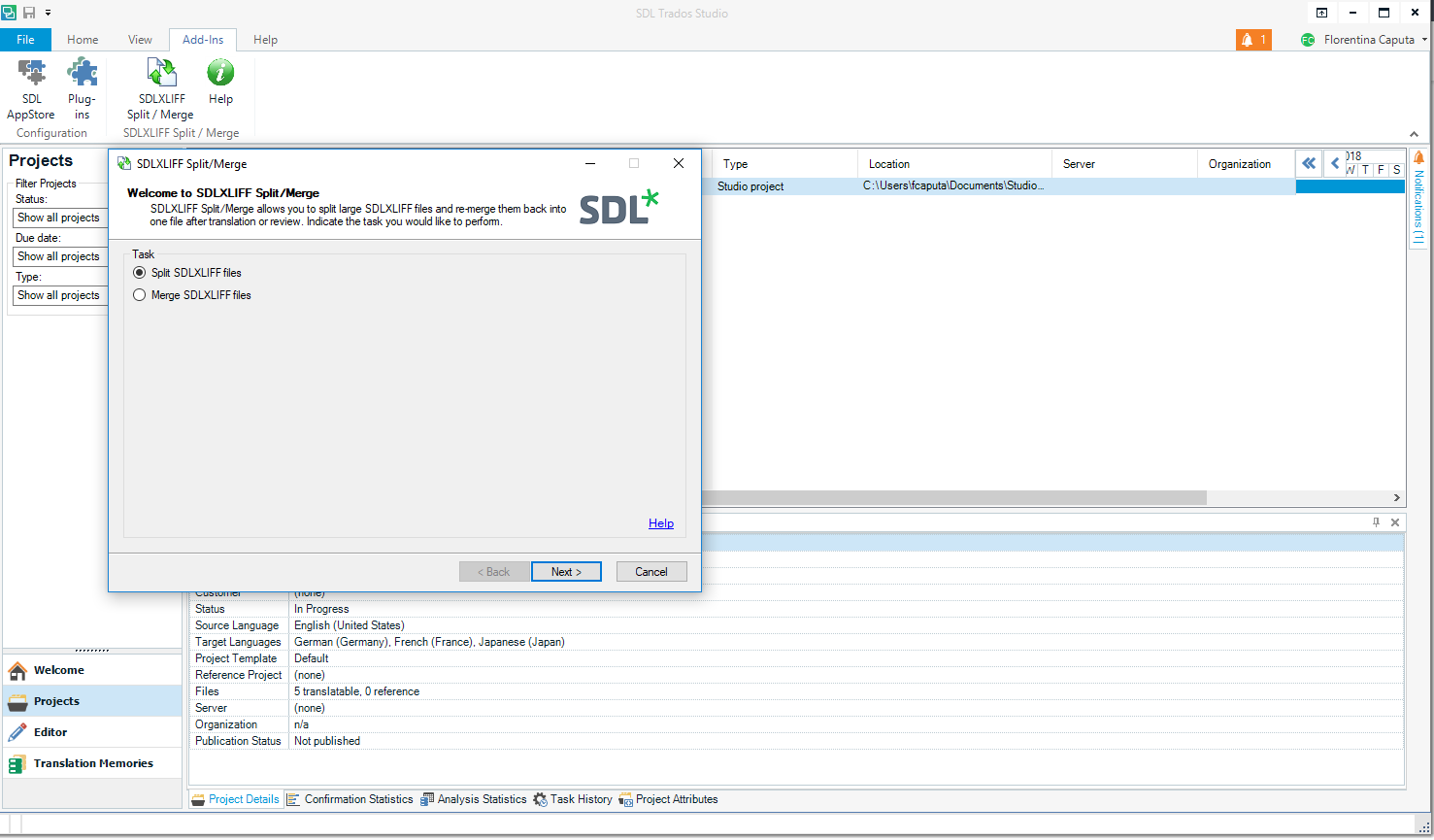 sdl studio split files