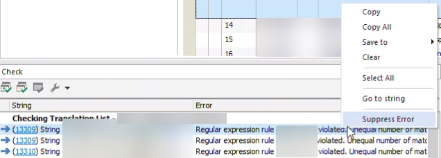 Option to suppress several selected errors at once while