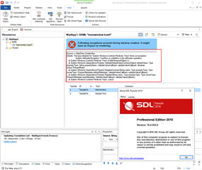 Passolo 2016 display exceptions when try to render  Net WPF