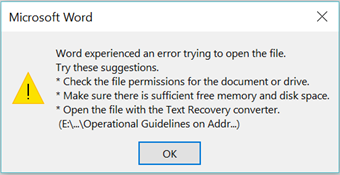 I am having problems opening a word target file  I am